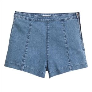 Denim High Waist Side Zipper Shorts